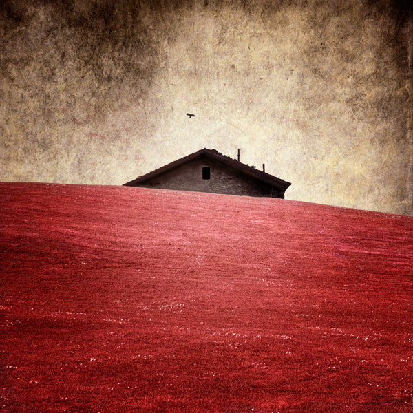 an old house on red country
